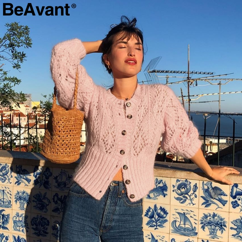 BeAvant Vintage Hollow Out Knitted Cardigan Women Long Sleeve Autumn Winter Pink Sweater Female High Waist Slim Ladies Cardigans