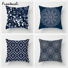 Fuwatacchi Ink-Blue Patchwork Stripe Pillow Cover Endless Geometric Cushion Throw Pillows for Linen Decoration Sofa Home