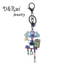 Cute Dog Key Ring Women Girls Black Alloy Metal Cartoon Animal Keychain Jewelry 2019 New Car Pendant Keychains for Ladies Bags