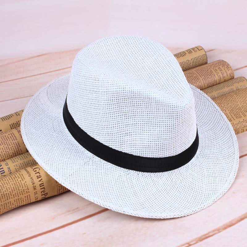Men Straw Panama Hat Handmade Cowboy Cap Summer Beach Travel Sunhat NFE99