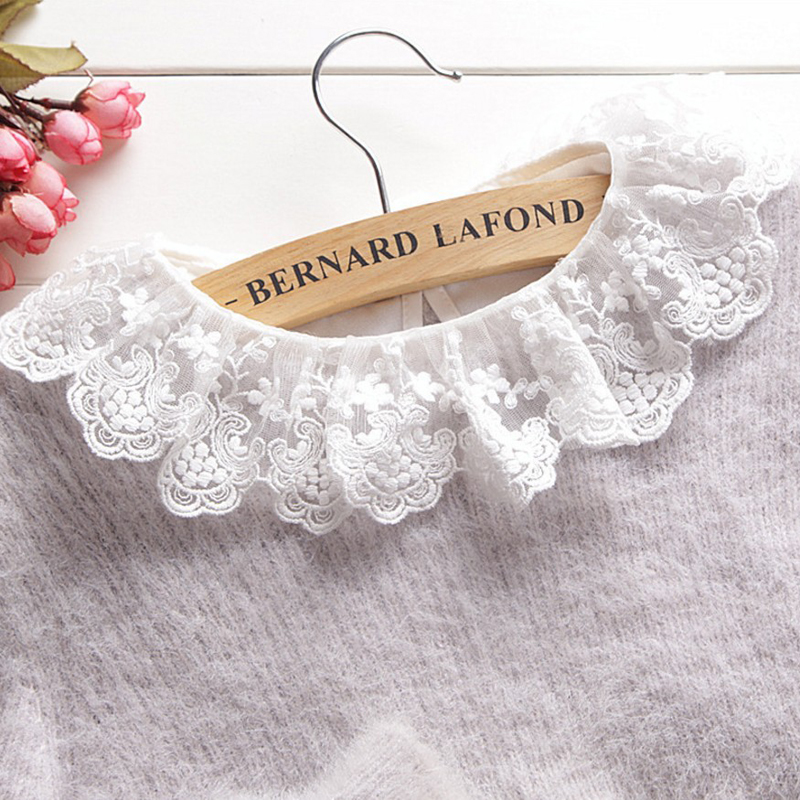 OnnPnnQ New Arrive Sweet Lace Chiffon Detachable Collar Women Girl Shirt Tops Decorated Remove False Collar