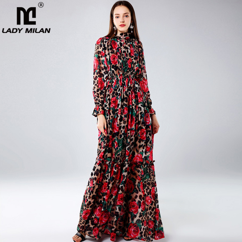 Lady Milan Women s Designer Runway Dresses O Neck Long Sleeves Roses Leopard Printed Ruffles Elegant
