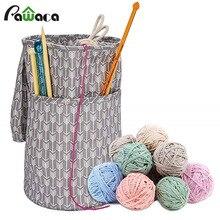 Сумка для хранения на шнурке, органайзер с разделителем, переносная сумка для вязания мотков, крючков для вязания, инструменты для игл