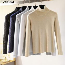 Glitter Turtleneck knit sweater Shinny Chic Women Sweaters And Pullovers spring Autumn thin bling Lurex slim baisc sweater 3