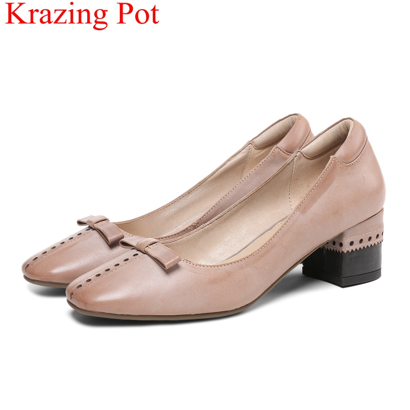 купить 2018 new arrival slip on high heels genuine leather shallow women pumps elegant casual office lady retro party runway shoes L03 по цене 3594.83 рублей