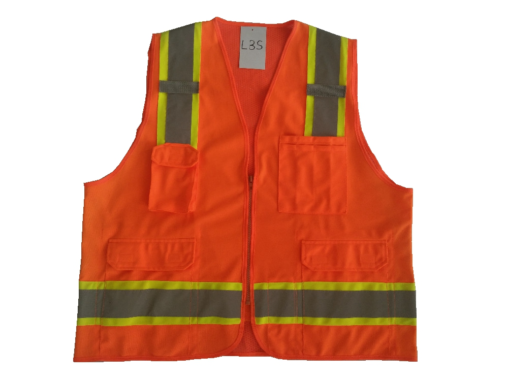 High Visibility Reflective Workwear Vest wiht Pockets fluorescence yellow high visibility