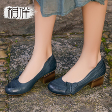 2017 new spring women heels leather ladies shoes handmade women shoes pumps shallow mouth round shoes