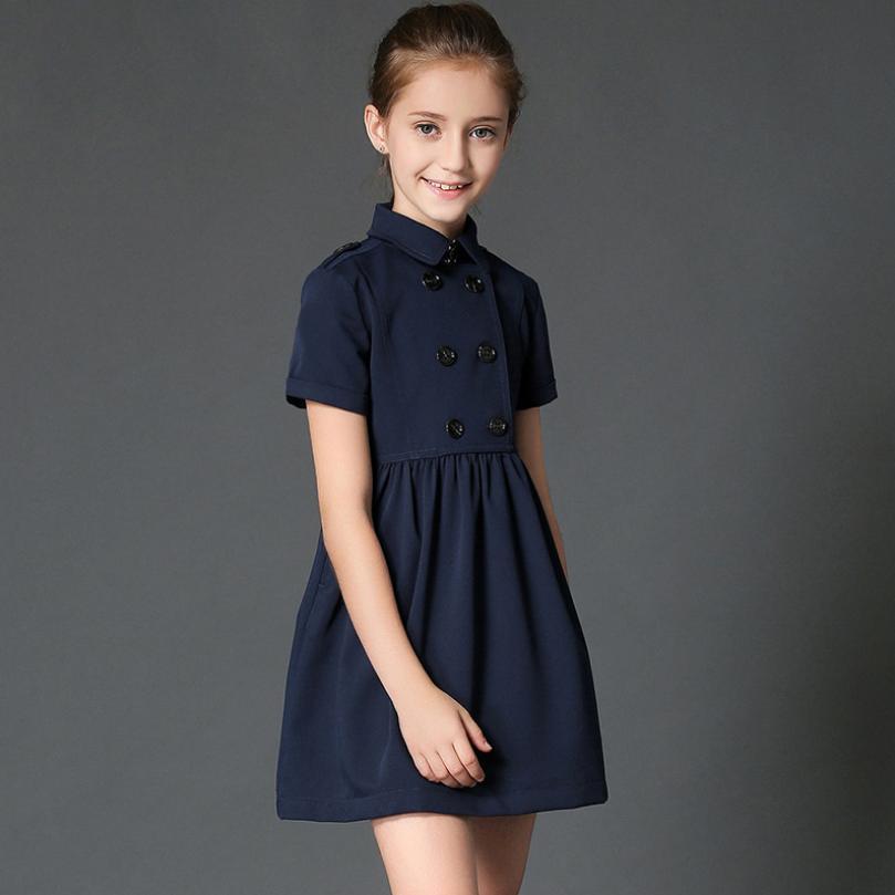 2019 été bébé fille robe enfants Double boutonnage Vestido adolescents enfants princesse à manches courtes coton Mini angleterre robe Y1023