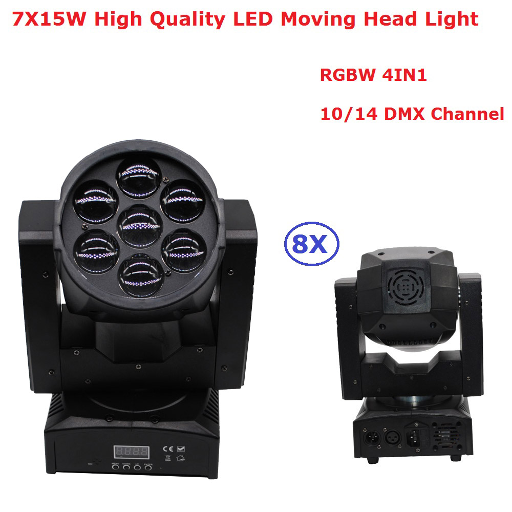 8Pcs/Lot Newest ZOOM LED Moving Head Wash Light High Quality 7X15W RGBW Quad Color Beam Light For Professional Stage Dj Lighting