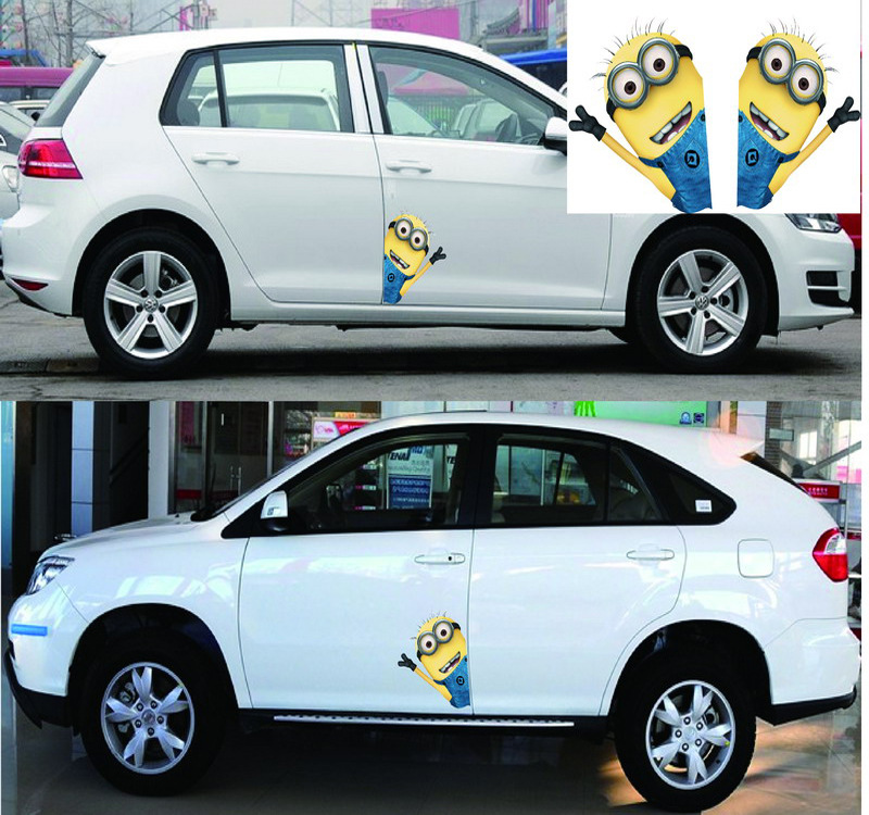 Наклейки на авто Миньоны творческий мультфильм красочные наклейки Водонепроницаемый прозрачный фон авто Тюнинг стайлинг 22*14см Д10