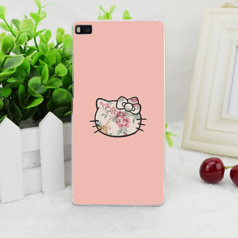 A1955 Hello Kitty цветок стиль прозрачные жесткий тонкой кожи, чехол для Huawei P 6 7 8 9 lite плюс honor 6 7 4C 4X G7