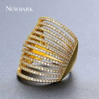 NEWBARK Rings Unique Design Wedding Rings For Women Jewellery Gold Color Zircon Crystal Party Occasion Top Quality Jewelry