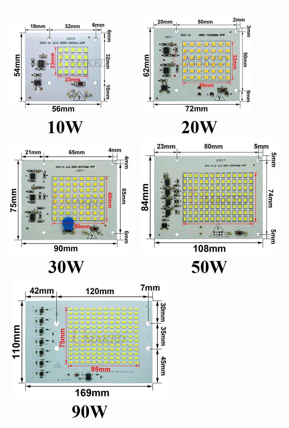 1/10/50 PCS COB LED Lampen Chip Lamp Smart IC 220V 90W 50W 30W 20W 10W Voor Outdoor Schijnwerper Warm Wit/Wit Hoge kwaliteit