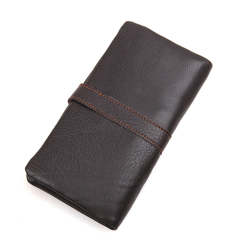 Hamich New Real Leather MenS Retro High-Capacity Multi-Card Bit Long Wallet Clutch Men Genuine Portefeuille Homme