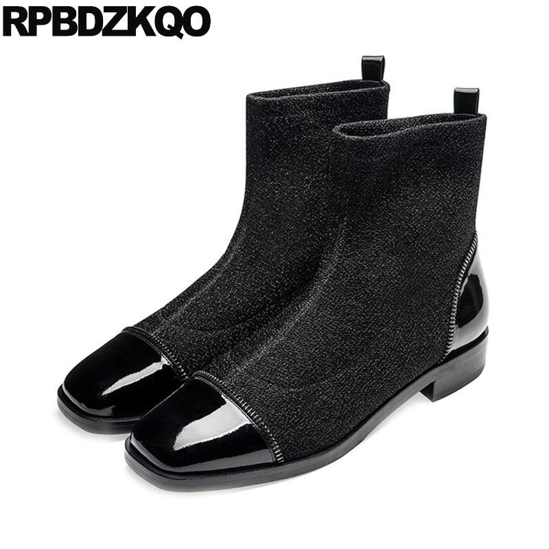 Bout Paillettes De 2018 Bottes Sur Britannique Luxe Chaussette Chaussures Carré Chunky En Marque gris Femmes Slip Cuir Automne Concepteur Noir Noir Véritable UrUqwApzO
