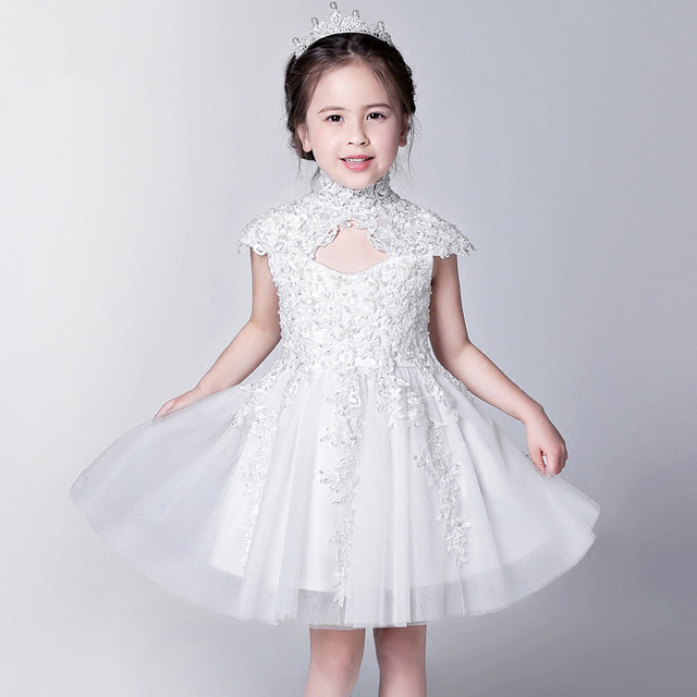White Cheongsam ball gown flower girl children girls dresses for ...