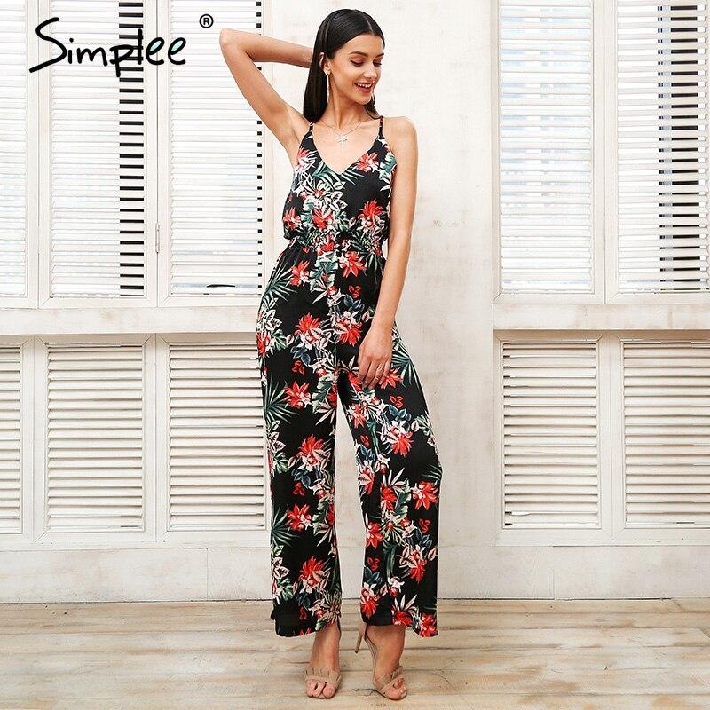 Sexy strap tropical print boho jumpsuit