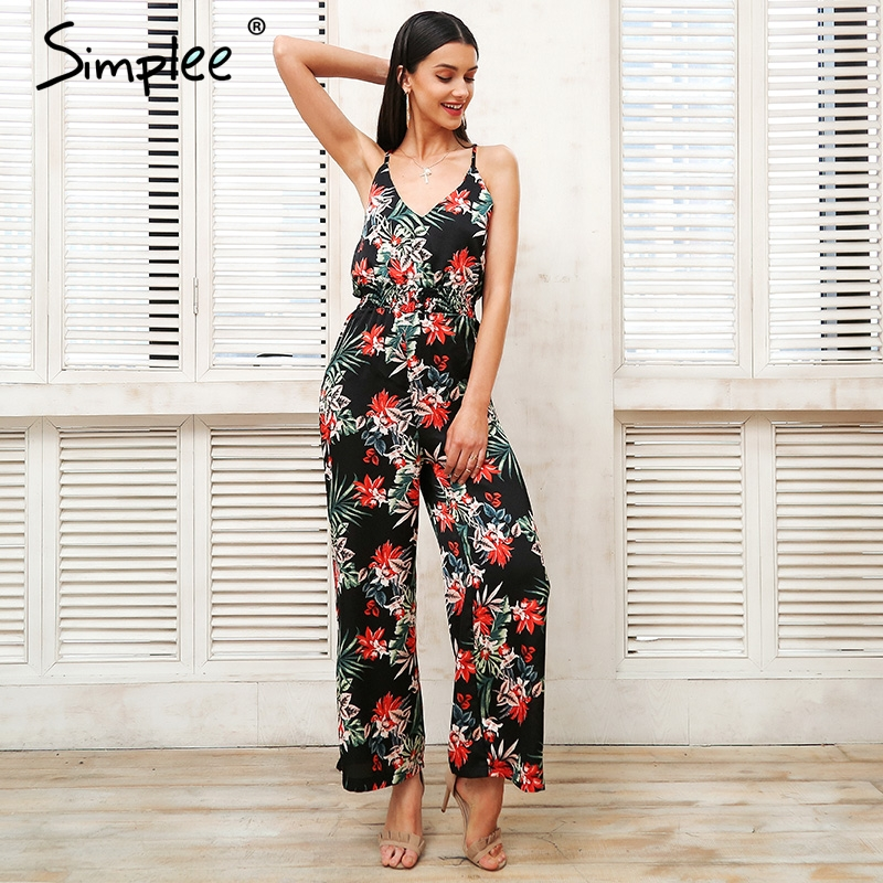 Simplee Sexy Strap Tropical Print Boho Jumpsuit Cross Backless Ruffle Summer Jumpsuit 2018 Beach Loose Casual Romper Playsuit