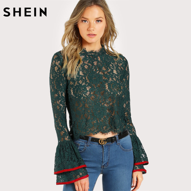 SHEIN Contrast Trim Bell Cuff Lace Top Autumn Long Sleeve Women Sexy Blouse Green Flare Sleeve Elegant Woman Blouses
