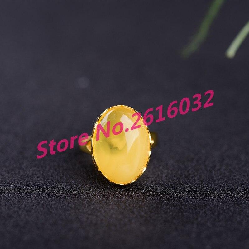 Цвета розового золота чистого серебра Полный Янтарный мед оригинальный камень курица масла желтый мед, воск кольцо