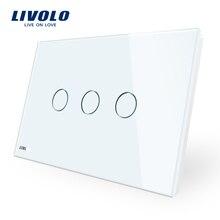 Производитель, Livolo настенный выключатель VL-C903-11, 3-ган 110~ 220V с украшением в виде кристаллов Стекло Панель AU/US Стандартный Сенсорный экран Управление настенный светильник