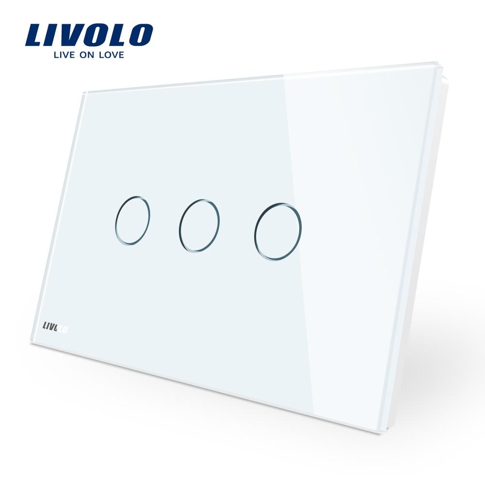 Fabricante de Livolo interruptor de pared VL-C903-11 3-banda 110 ~ 220 V de cristal de vidrio de Panel es/estándar de Control de pantalla táctil luz de la pared