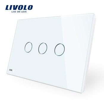Fabricante, interruptor de pared Livolo VL-C903-11, Panel de cristal de 3-gang 110 ~ 220 V, luz de pared de Control de pantalla táctil estándar AU/US