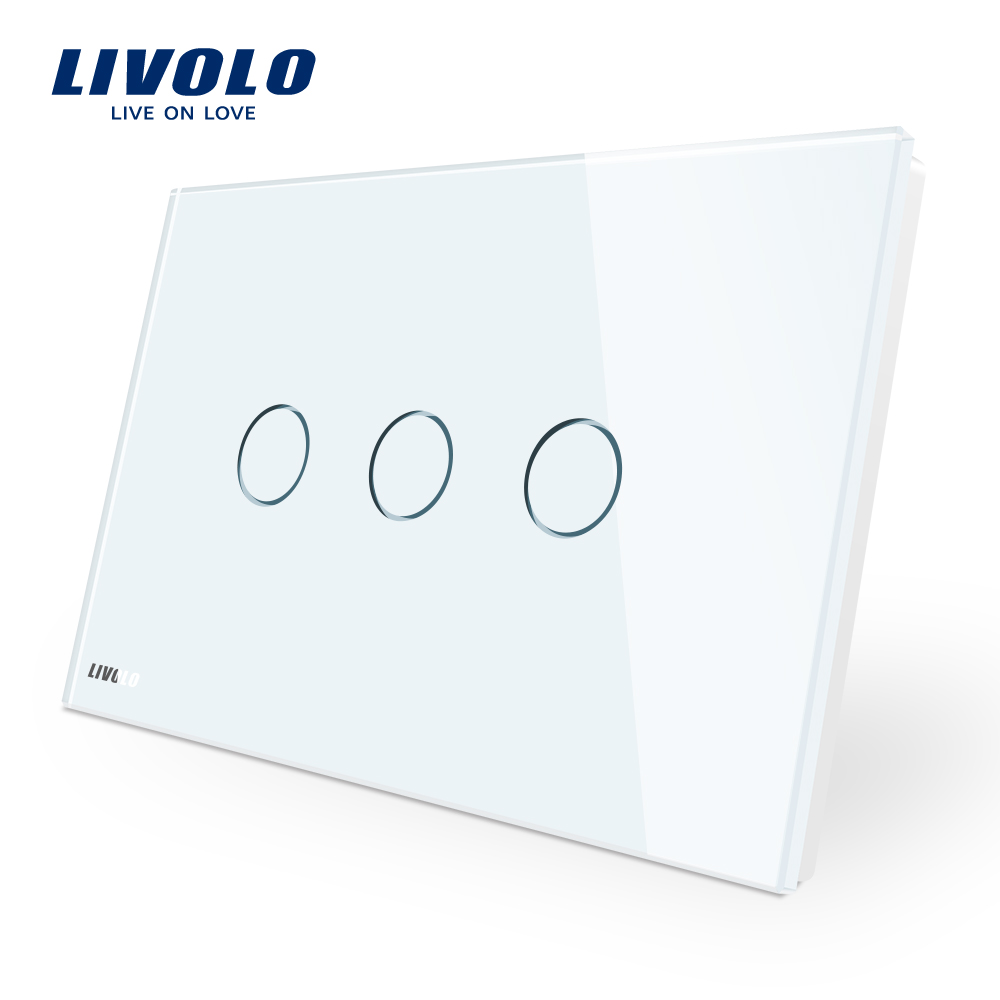 Manufacturer, Livolo Wall Switch VL-C903-11,3-gang 110~220V  Crystal Glass Panel,AU/US Standard Touch Screen Control Wall Light manufacturer smart home white crystal glass panel us au wall light touch switch 2 gang 1 way power 110 250v with led indicator