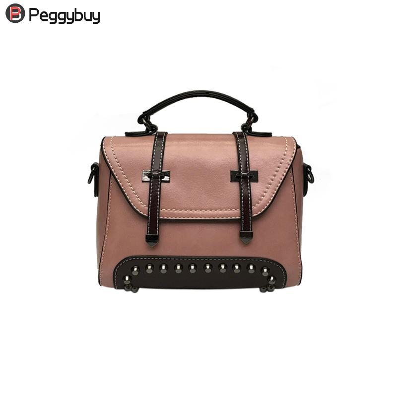 Vintage Women Handbag Rivet Bag Ladies Shoulder Messenger Crossbody Bags Luxury Girls Cool Shopping Travel Large Capacity Bags