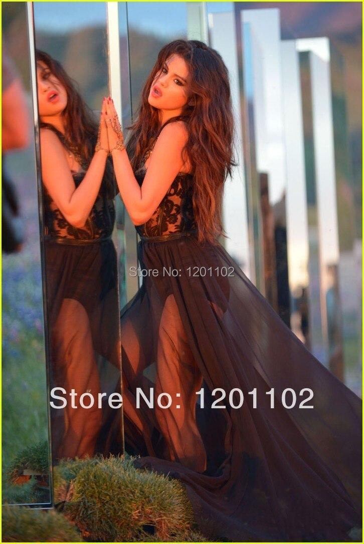 e836defac4 2016 Selena Gomez Sukienka Sexy See Through Sweetheart Line Piętro długość  Czarna Szyfonowa Celebrity Sukienki Dla Celebrity Nowy Projekt w 2016 Selena  ...