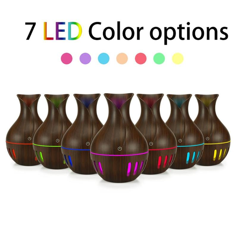 130mL USB 7 Color Night Light Aroma Essential Oil Diffuser Ultrasonic Cool Mist Humidifier Air Purifier With Wood Grain For Home