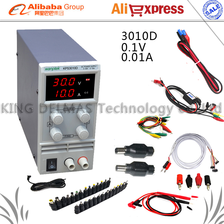 Digital LED Adjustable DC Power Supply 30V10V 110-220V For Phone and Laptop Repair Power Supply+DC JACK SET+Repair cable+Probe dps3003 adjustable dc digital control power supply 12v24v high power mobile phone maintenance power suites dc depressurization m