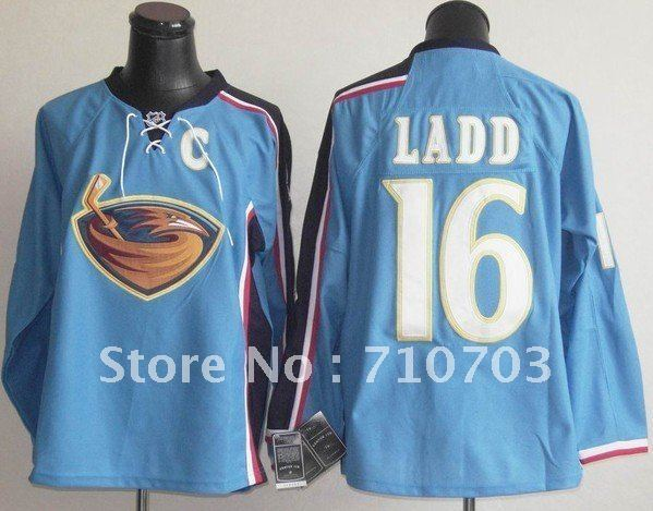 Mix Order Thrashers #16 Andrew Ladd blue color Jersey Ice Hockey ,Free Shipping
