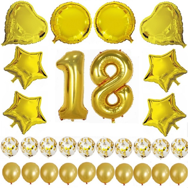 Euniqueen 18 Years Balloons Birthday Decorations Adult Gold Set Anniversary Decoration Party Supplies
