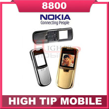 Nokia original 8800 gold cell phone English or russian keyboard with desktop charger leather case strap Freeship Refurbished