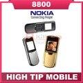 Nokia original 8800 del teléfono celular de oro Inglés o el teclado ruso con cargador de escritorio de la correa de cuero Freeship Reformado