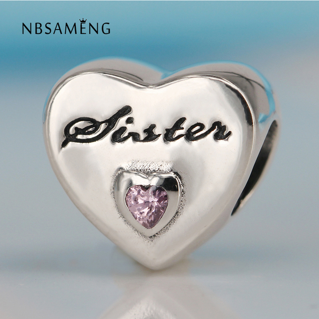 Love Sister Crystal Bead 925 Sterling Silver Heart Charms for Women Jewelry Charms Bracelets ItC6A
