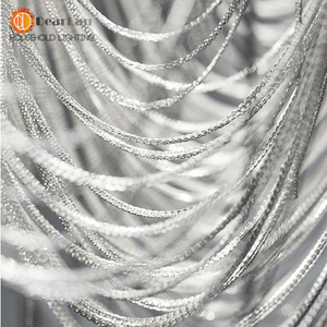 Image 5 - Modern Style Silver Cloth Art Pendant Lamp Engineering Design Luxury Chain Tassel Aluminum Chain LED Pendant Lights(CQ 50)