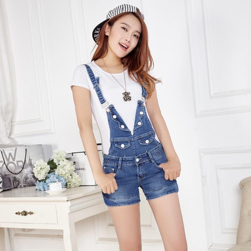 Summer removable strap denim shorts slim women suspenders