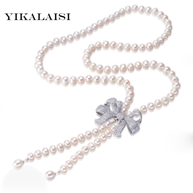 YIKALAISI 2017 100% natural 8-9mm White long Freshwater Cultured Pearl jewelry Necklace 92cm fashion jewelry gift free shipping цена и фото