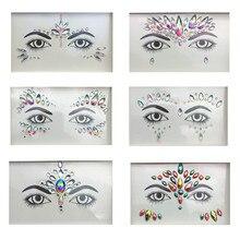 3D блестящие украшения с кристаллами, тату-Стикеры для женщин, модные украшения для лица и тела, цыганские праздничные украшения, вечерние Стикеры для макияжа, красивые наклейки s