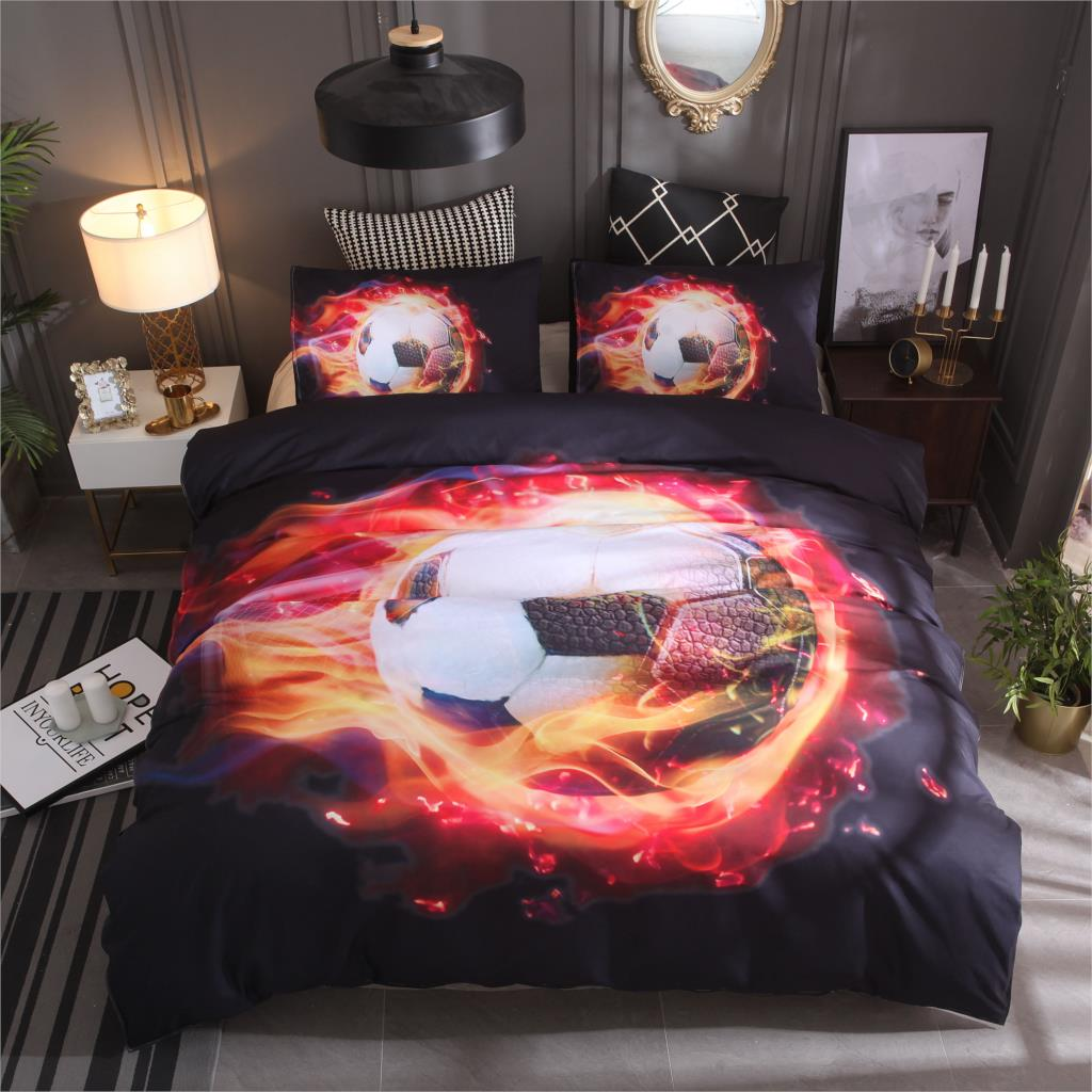 Падение доставка 3D пламени Футбол печатных постельное белье 2/3 шт queen Королевское постельное белье кровать льняные комплекты постельного б...