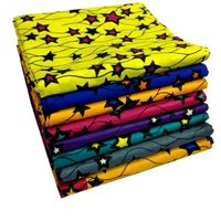 6 Yards/lot Top sale multi color african real wax with stars design batik wax fabric for clothes LB1