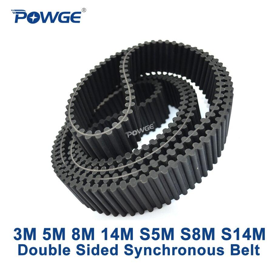 POWGE 3 м 5 м 8 м 14 м S5M S8M S14M двухстороннего синхронного ремня настроены все виды HTD3M HTD5M HTD8M двойные зубы ремня