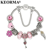 KEORMA Jewelry Love Heart charm Bracelets & Bangles Pink Angles Wings Beads Bracelet for Women Valentine's Day Lover Gift KM252