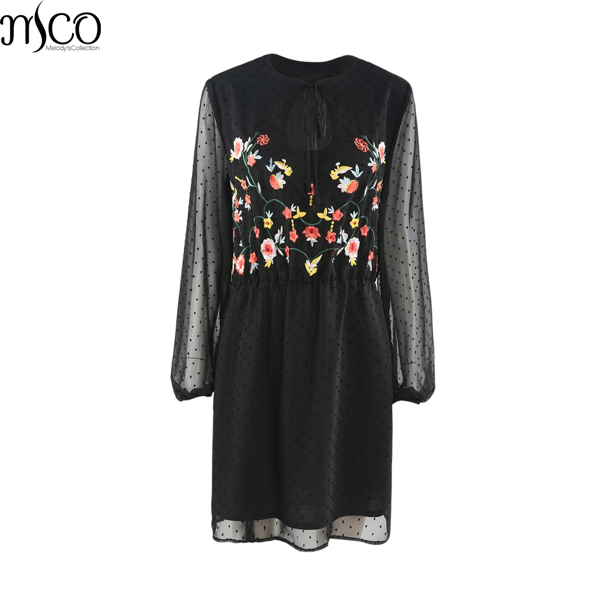 MCO 2018 Spring Elegant Floral Embroidered Plus Size Tea Dress Oversized Dot Mesh Skater ...