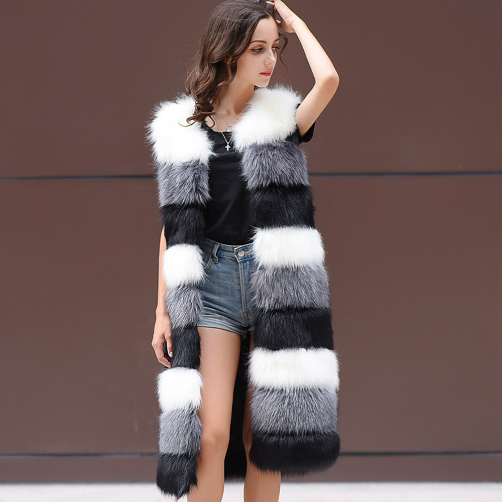 Sans Chic Veste Blue Vêtements Automne D'hiver Poilu pink Mode Manteau Wipalo Dessus Faux Manches Gilet black gray Femmes Fourrure De Pour Moelleux Chaud DW9IYE2eH