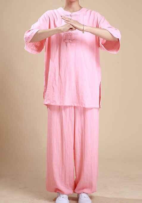 5 色女性ナチュラルリネンの夏 & 春武道スーツ太地運動服太極拳半袖