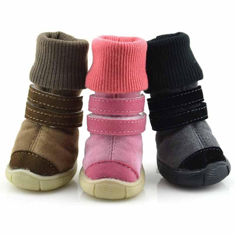Зимняя обувь для домашних животных Нескользящие хлопковые мягкие кожаные кашемировые теплые трофейные ботинки обувь с ремешком для собак Продукты для животных зимние ботинки для собак