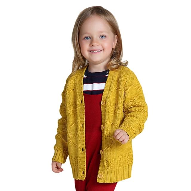 Niñas Suéter de Punto Cardigan 2016 Nuevo Algodón de la Llegada del Otoño Invierno Ropa Niños Amarillo Gris Para 12m-5 Años GW33